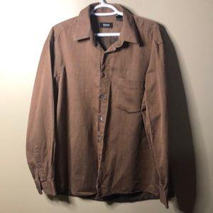 Hugo boss brown button up shirt